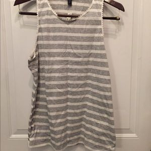 White and Gray striped tank with scalloped trim